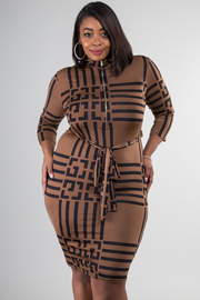 Plus Size 1/2 Zipped Long Sleeve Tie at Waist Fitted Dress