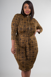 Plus Size Fitted Long Sleeve Tie at Waist Dress