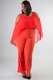 Plus Size Cold Shoulder Drape Top Jumpsuit