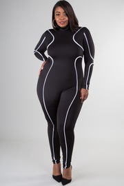 Plus Size High Neckline Long Sleeve Jumpsuit