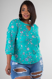 Plus Size High Neckline With Keyhole 3/4 Sleeve Top