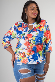 Plus Size 3/4 Sleeve Floral Top