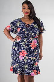 Plus Size Floral Knee Dress