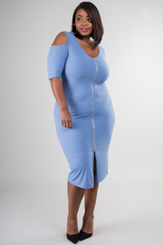 Plus Size Cold Shoulder Zipped Up Dress