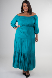 Plus Size Off Shoulder Long Sleeve Maxi Dress