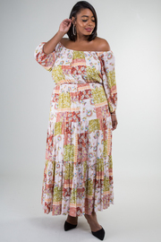 Plus Size Off Shoulder Long Sleeve Print Maxi Dress