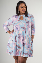 Plus Size Tribal Print Long Sleeve Dress