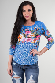 3/4 Sleeve Floral Top