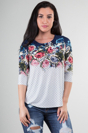 3/4 Sleeve Blouse With Rose Print