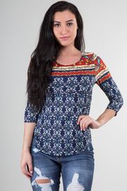 3/4 Sleeve Crew Neck Print Top