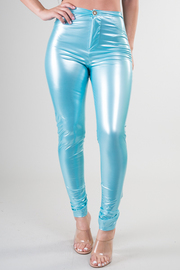 High Waist Shiny Fitted Pant