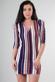 V-Neck 3/4 Sleeve Stripe Mini Dress