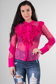 Long Sleeve Lace Top With Ruffle Detail