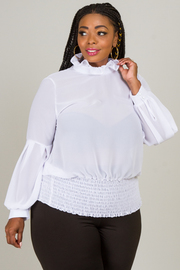 RUFFLED NECK LONG SLEEVE LOVELY TOP
