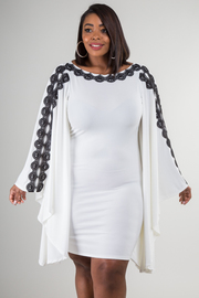 PLUS SIZE BOAT NECK LONG SLEEVE WITH LACE FITTED DRESS