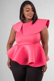 SLEEVELESS ASYMMETRIC PEPLUM TOP