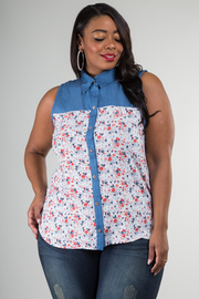 Plus Size Sleeveless Button Down Floral Top