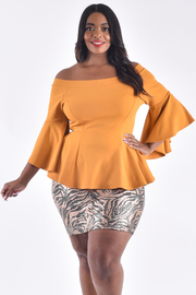 Plus Size Boat Neck Long Bell Sleeve Peplum Top