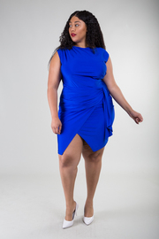 Plus Size High Neckline Sleeveless Dress with an Overlap Tie-Up Detail