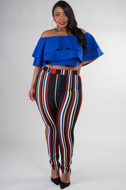 Plus Size Ruffle Crop Top With Stripe Pant Set