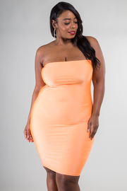 Plus Size Straight Across Tube Dress