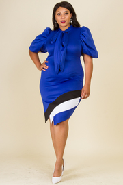 PLUS SIZE PUFFED SHORT OUT SLEEVE WITH BOW BOTTOM PART COLOR BLOCK FITTED DRESS