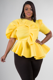 PLUS SIZE COLD SHOULDER SHORT SLEEVE ASYMMETRY PEPLUM TOP