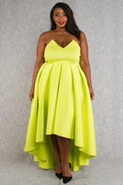 Plus Size Sweetheart Strapless Flowy Maxi Ponti Dress