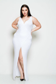 Plus Size Overlap Jersey Slit Maxi Summer Dress