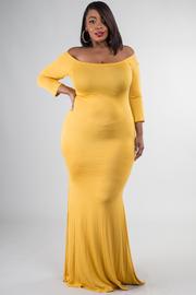 Plus Size 3/4 Sleeve Off Shoulder Long Train Dress