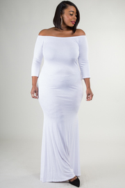 Plus Size 3/4 Sleeve Off Shoulder Long Train Dress