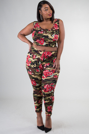 Plus Size Rose Print Sleeveless Crop Top and Legging Set