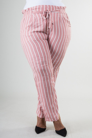 PLUS SIZE BELTED STRIPED HIGH WAIST PANTS
