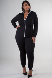 Plus Size Zipped-up Hooded Long Sleeve Jumpsuit