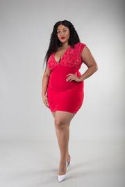 Plus Size Deep V-Neck Sleeveless Bodycon Mini Dress With Rhinestone Detail