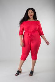 Plus Size Off The Shoulder 3/4 Sleeve Jumpsuit