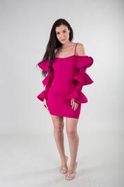Ruffled Detailed Off The Shoulder Spaghetti Strap Bodycon Mini Dress