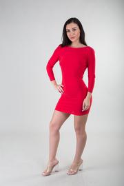 Open Back Long Sleeve Round Neck Short Tail Bodycon Mini Dress