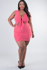 Plus Size Sleeveless Front Tie Open Waist Mini Dress