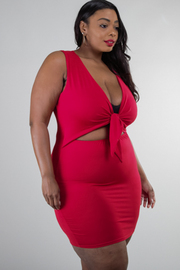 Plus Size Front Tie Waist Cut-out Mini Dress