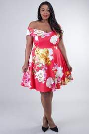 Plus Size Short Sleeve Off Shoulder Floral Dress