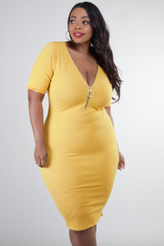 Plus Size V-Neck Line With Zipper Fitted Knee Dress