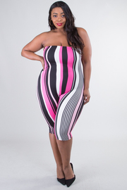 Plus Size Striped Tube Top Jumpsuit