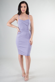 Spaghetti Strap Overlap Neckline Detail Belted Bodycon Dress