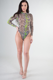 High Neck Long Sleeve Snake Print Bodysuit