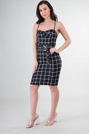 Spaghetti Strap Checker Print Belted Dress