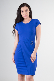 Short Sleeve Round Neckline Detail At Waist Overlap Dress