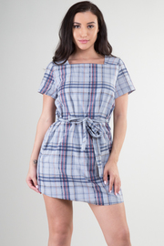 Plaid T-Shirt Dress with Belt
