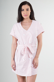 Short Sleeve Double Button Dress with Belt
