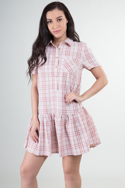 Short Sleeve Plaid Pocket Dress With Pleated Bottom Hem